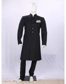 Black Button Work Silk Indowestern - IA6000A - ECIW3