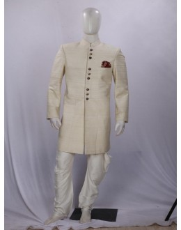 Cream Button Work Silk Indowestern - IA6000C - ECIW3