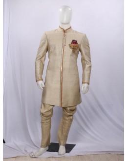 Cream Embroidered Silk Indowestern - IA6000B - ECIW3