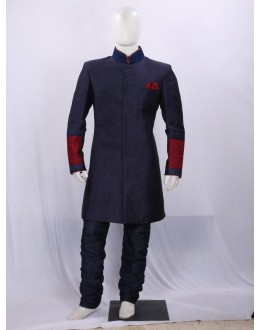Dark Blue Heavy Embroidered Indowestern - II3000 - ECIW04