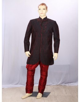Dark Maroon Heavy Embroidered Indowestern - IB6764 - ECIW04