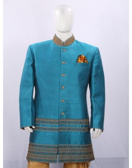 Light Blue Raw Silk Heavy Embroidered Indowestern - ECIW09