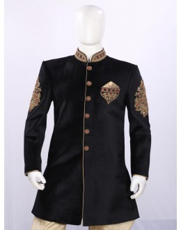Wedding Wear Black Indowestern For Men - ECIW09