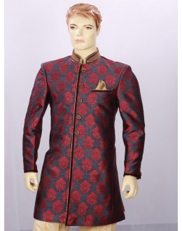 Wedding Wear Blue Maroon Indowestern For Men - ECIW09
