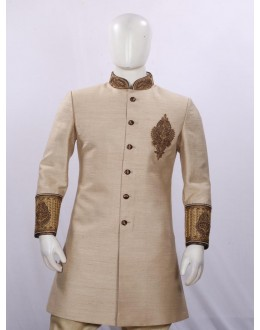 Wedding Wear Dark Golden Indowestern For Men - ECIW09