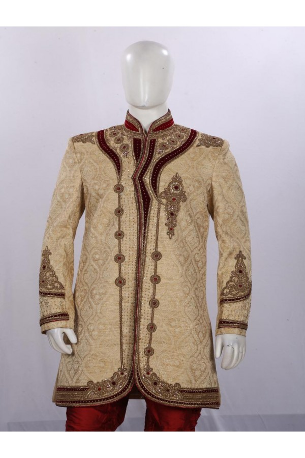 Wedding Wear Fawn Indowestern For Men - ECIW09