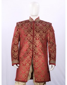 Wedding Wear Orange Red Indowestern For Men - ECIW09