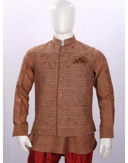 Ethnic Wear Coffee Jacket Kurta Set - ECJKS08