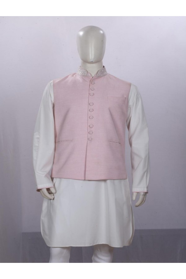 Ethnic Wear Cream Jacket Kurta Set - ECJKS08
