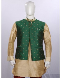 Ethnic Wear Fawn Green Jacket Kurta Set - ECJKS08