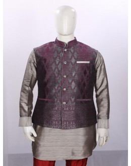 Ethnic Wear Grey Dhupion Jacket Kurta Set - ECJKS08