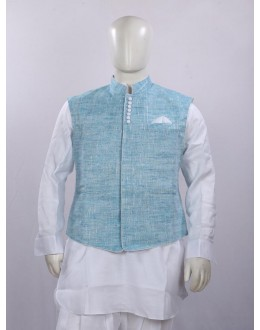 Ethnic Wear Linen Light Blue Jacket Kurta Set - ECJKS08
