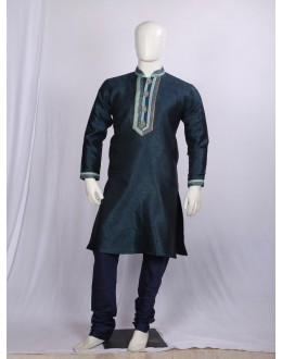 Regular Fit Brocade Dark Blue Kurta Pyjama - KD1330 - ECK02