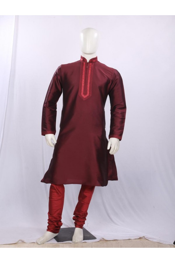 Regular Fit Brocade Maroon Kurta Pyjama - KT1551 - ECK02