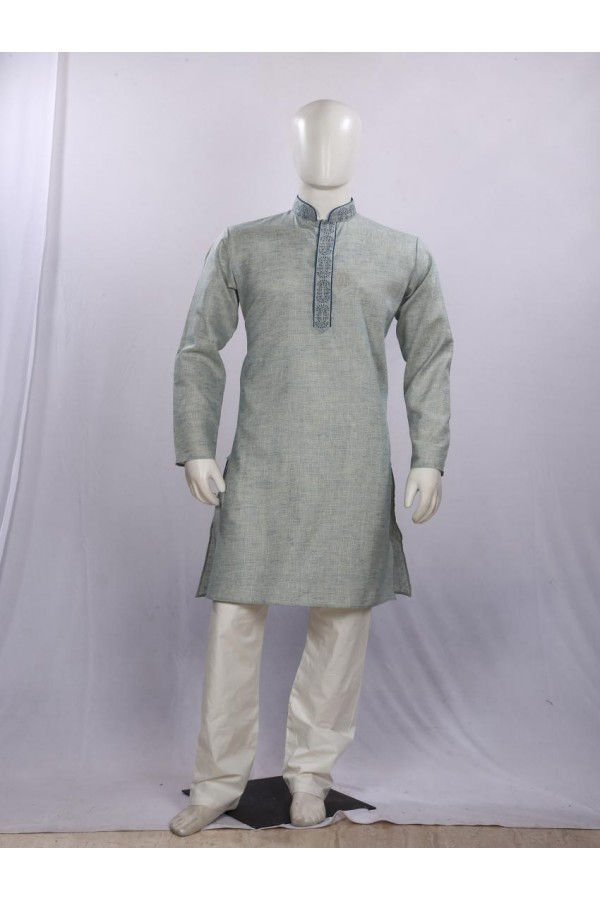 Regular Fit Cotton Blue Kurta Pyjama - KE9797 - ECK02