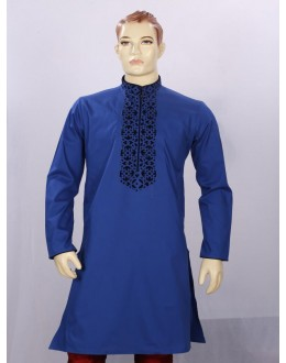 Regular Fit Cotton Blue Kurta Pyjama - KE9919 - ECK02
