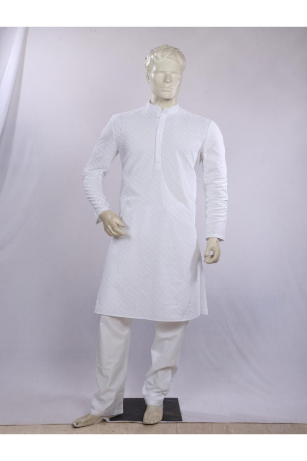 Regular Fit Cotton White Kurta Pyjama - KE9533 - ECK02