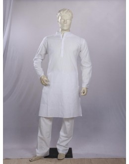 Regular Fit Cotton White Kurta Pyjama - KE9844 - ECK02