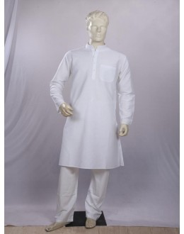 Regular Fit Cotton White Kurta Pyjama - KM9549 - ECK02