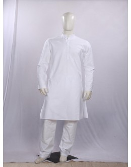 Regular Fit Cotton White Kurta Pyjama - KM9785 - ECK02