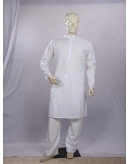Regular Fit Cotton White Kurta Pyjama - KM9870 - ECK02