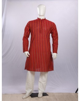 Regular Fit Handloom Red Kurta Pyjama - KE9899 - ECK02