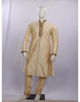 Regular Fit Silk Beige Kurta Pyjama - KT1549 - ECK02
