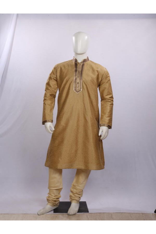 Regular Fit Silk Golden Kurta Pyjama - KD1301 - ECK02