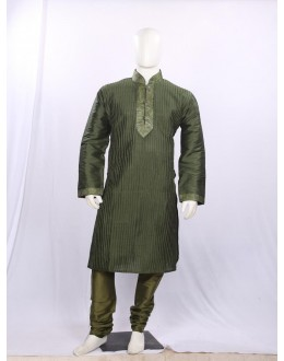 Regular Fit Silk Olive Green Kurta Pyjama - KP9711 - ECK02