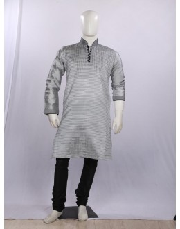 Regular Fit Silk Slate Grey Kurta Pyjama - KP9707SLATEGREY - ECK02
