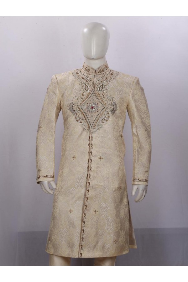 Wedding Wear Beige Sherwani - SB7463 - ECS06