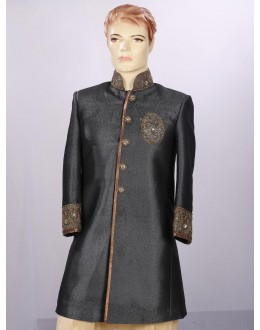 Wedding Wear Black Sherwani - 3895 - ECS06