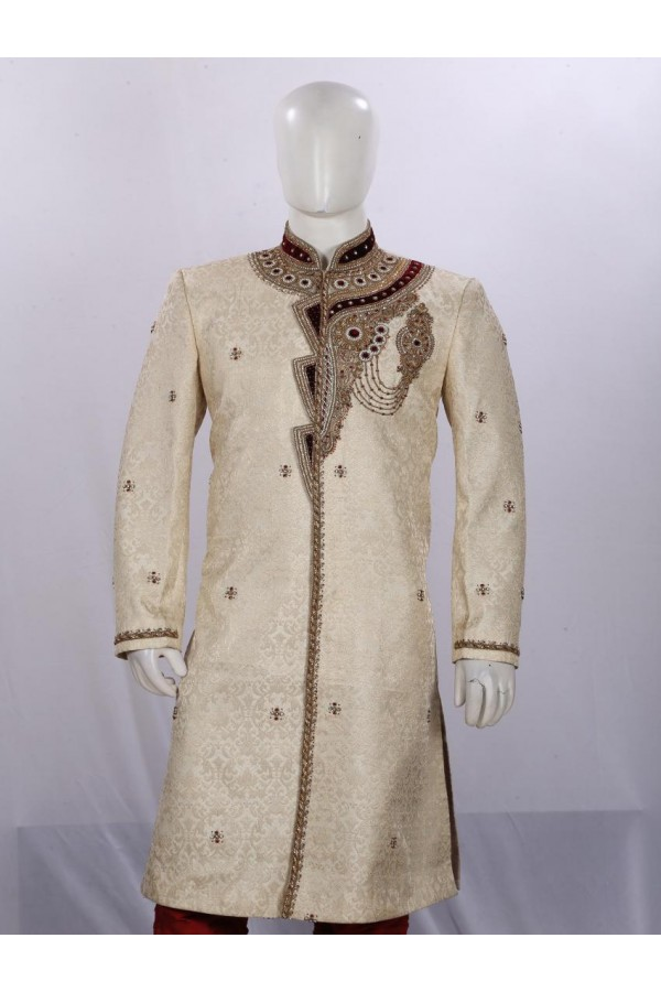 Wedding Wear Light Fawn Sherwani - SB7787  - ECS06