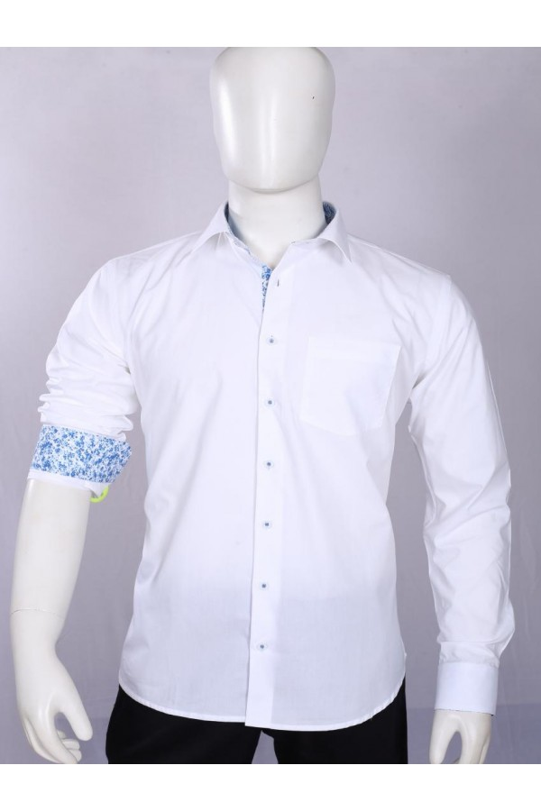 Officer Fit Cotton White Semi Formal Shirt - EC1005BWH