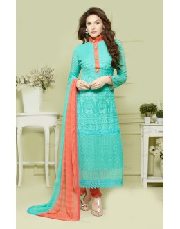 Casual Wear Sky & Orange Salwar Suit - FA373-2145