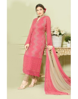 Party Wear Pink Chiffon Salwar Suit - FA373-2148