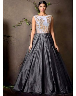 Party Wear Grey Anarkali Gown - FA374-19