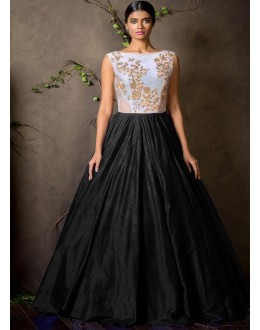 Party Wear Black Anarkali Gown, Gown - FA374-20