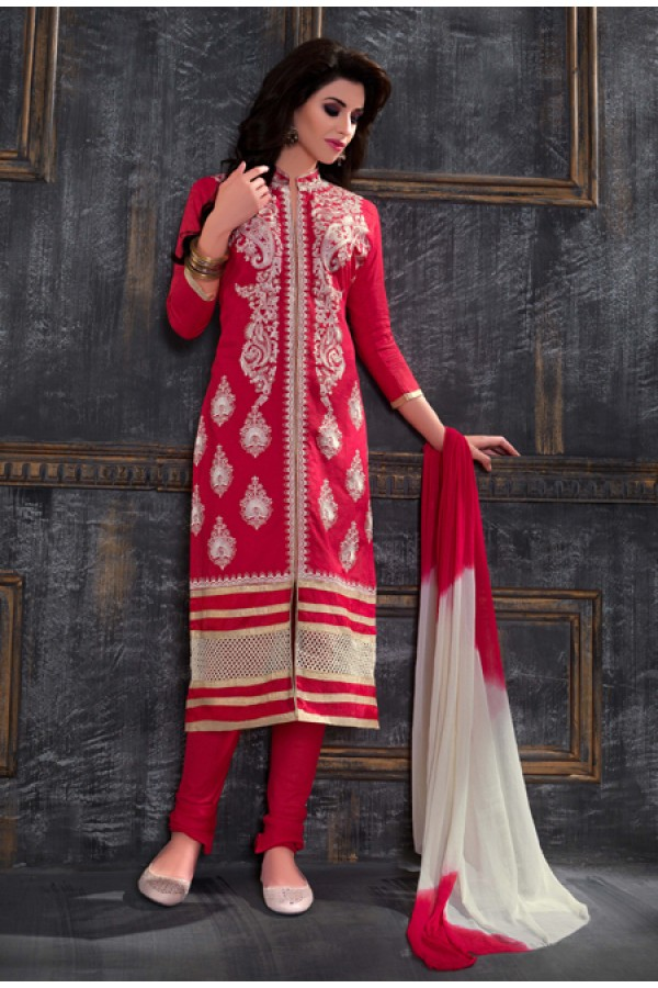 Party Wear Pink & Off White Salwar Suit - FA378-1605