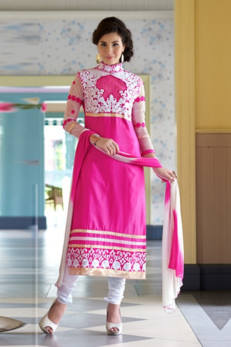 Party Wear Pink & White Salwar Suit - FA379-1406