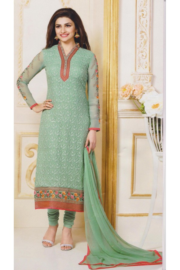 Party Wear Green Georgette Salwar Suit - FA381-3302