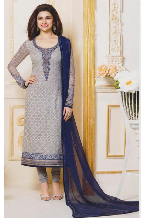Party Wear Grey Georgette Salwar Suit - FA381-3308