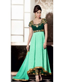 Party Wear Green Georgette Anarkali Suit - FA383-5002
