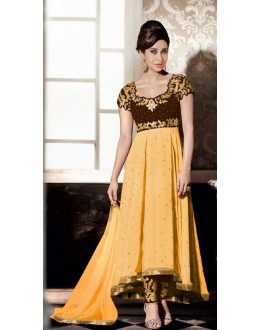 Party Wear Yellow Georgette Anarkali Suit - FA383-5003