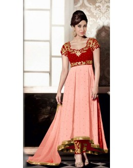 Party Wear Peach Georgette Anarkali Suit - FA383-5004