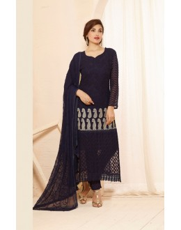 Party Wear Blue Straight Salwar Suit - FA385-2201