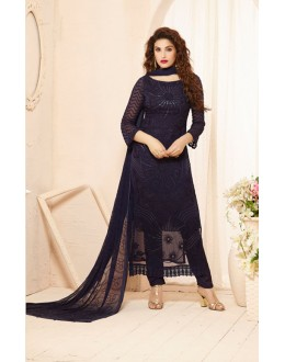 Party Wear Blue Straight Salwar Suit - FA385-2202