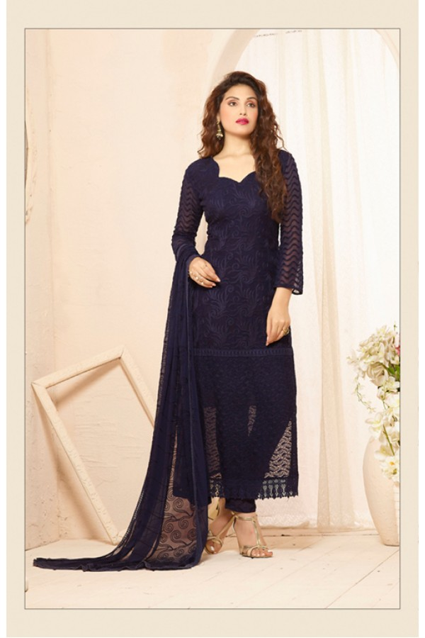 Party Wear Blue Straight Salwar Suit - FA385-2203