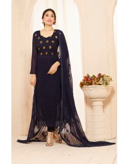 Party Wear Blue Straight Salwar Suit - FA385-2204