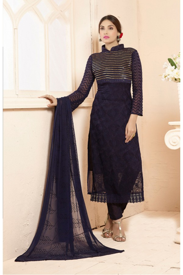 Party Wear Blue Straight Salwar Suit - FA385-2205